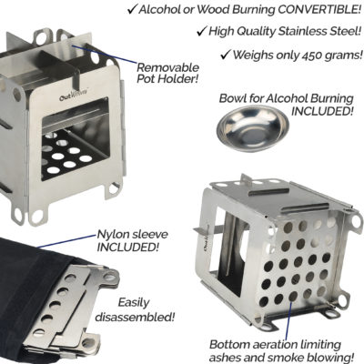 Outdoor Mini Wood/Alcohol Burning Stove
